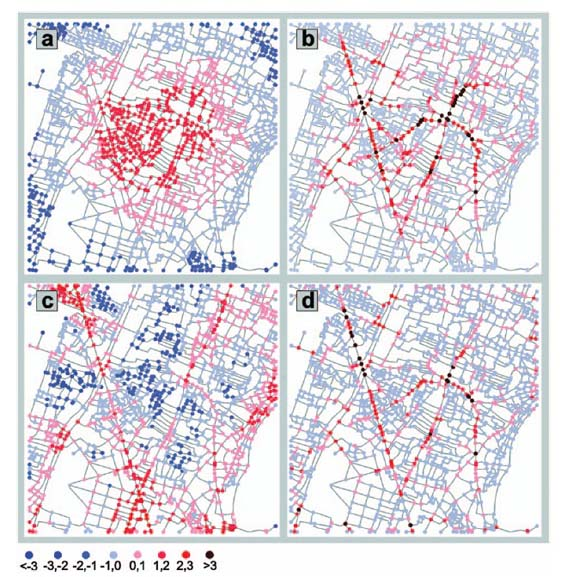 Centrality in networks of urban streets